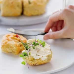 Savoury pepper scones topped with cayenne cheddar salami spring onionhellip