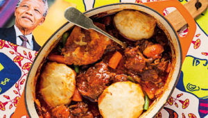 Umsila wenkomo with dombolo (oxtail stew with dumplings)