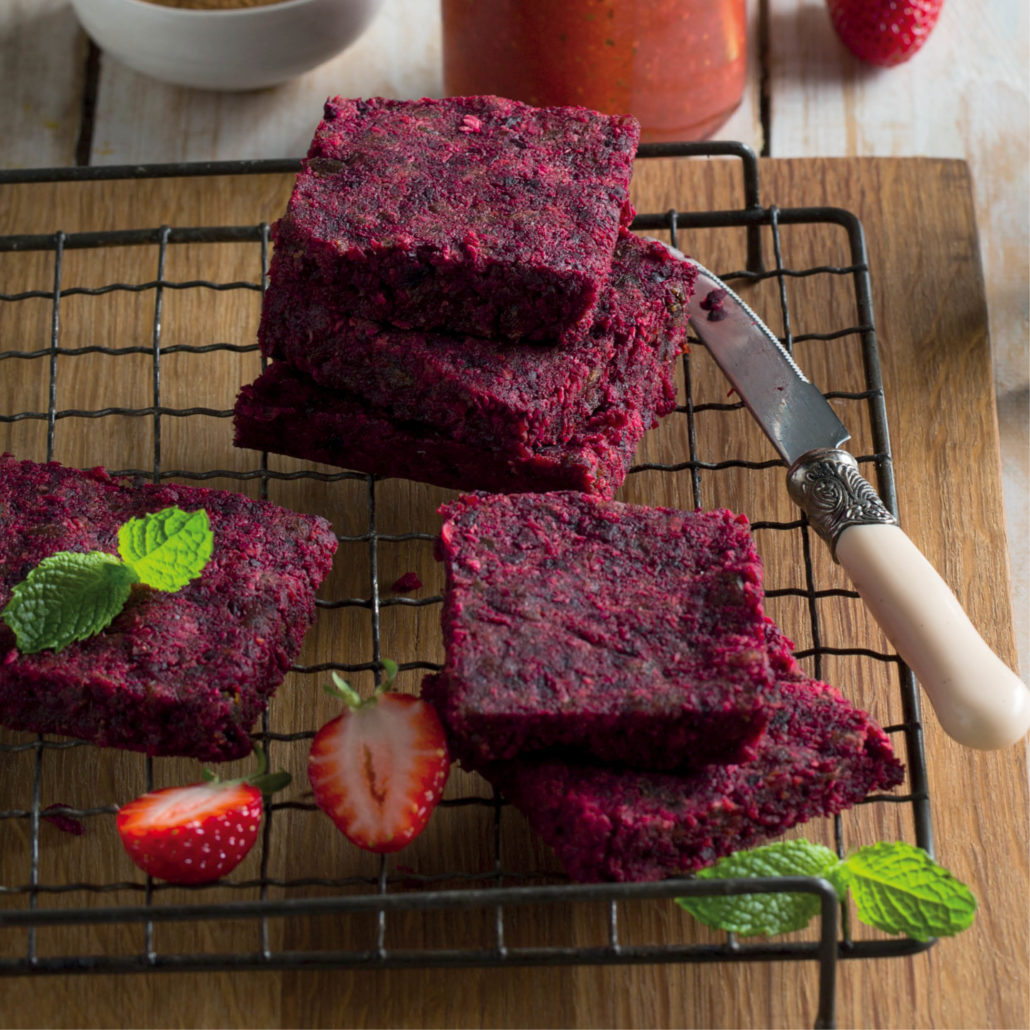 Raw beetroot and carrot squares