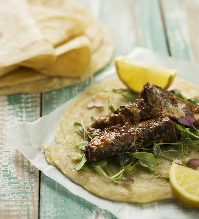 Curried pilchard rotis