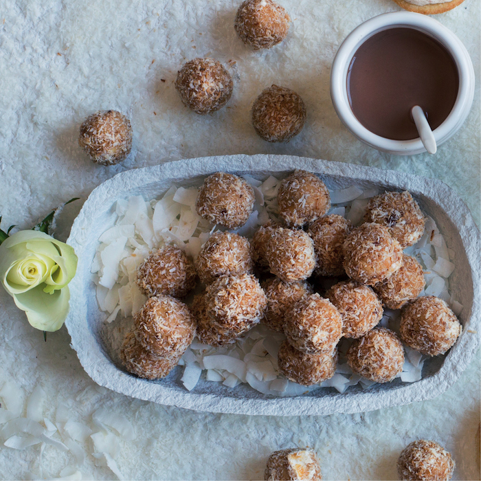 Coconut, peanut butter and nougat snack balls