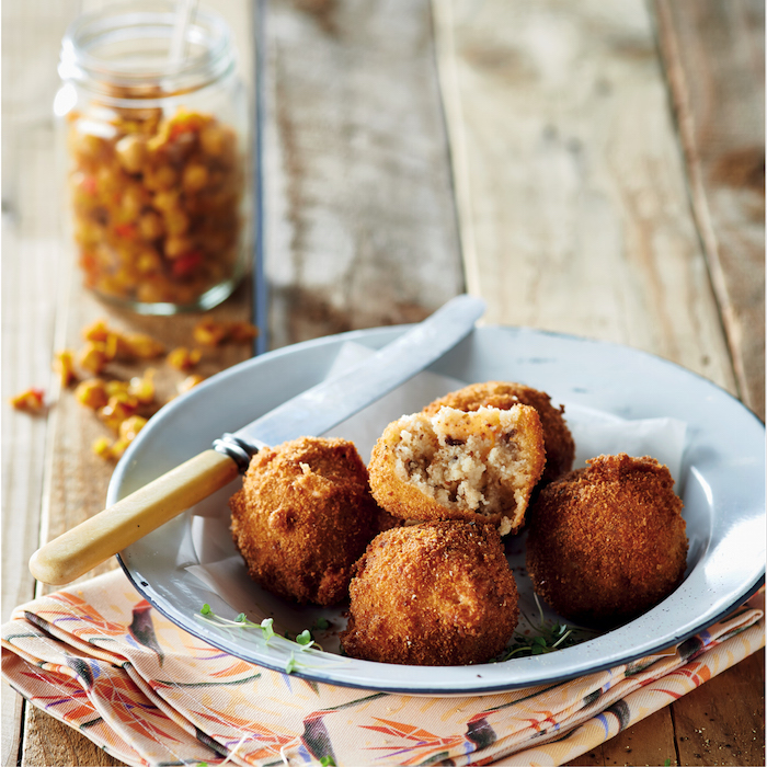 Pap balls with chickpea chakalaka