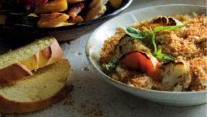 Pumpkin-cauli casserole with pumpkin bread