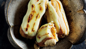White-chocolate and caramel eclairs