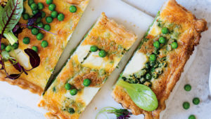 Goat's cheese, pea and mint quiche on mykitchen.co.za
