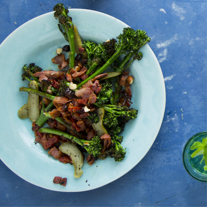 Grilled broccoli and bacon salad
