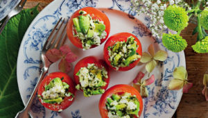 Pesto, avocado and ricotta stuffed tomatoes on mykitchen.co.za