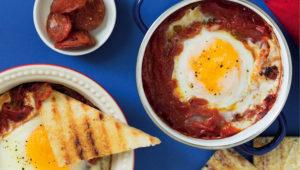 Best breakfast ever! Baked eggs in tomato and chorizo chutney