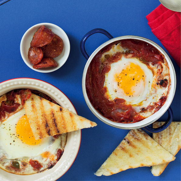 Best breakfast ever! Baked eggs in tomato and chorizo chutney