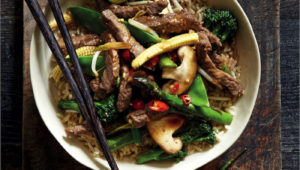 Super-healthy beef and brown rice stir-fry