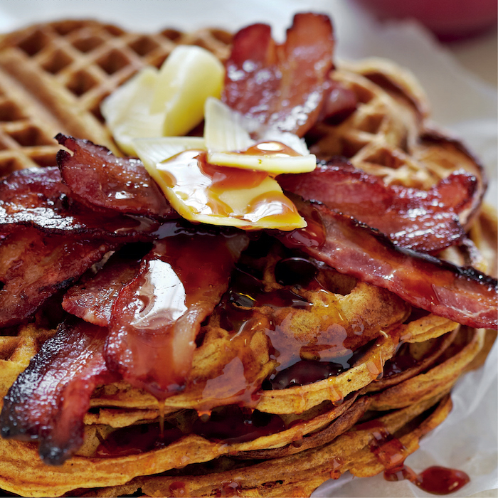 Butternut waffles with crispy bacon and Emmental