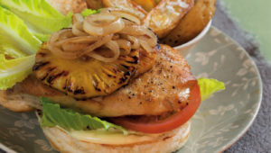 Hawaiian style chicken burgers on mykitchen.co.za