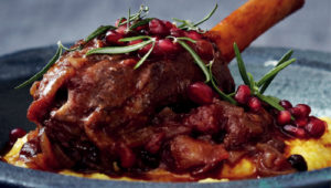 Lamb shank on soft polenta