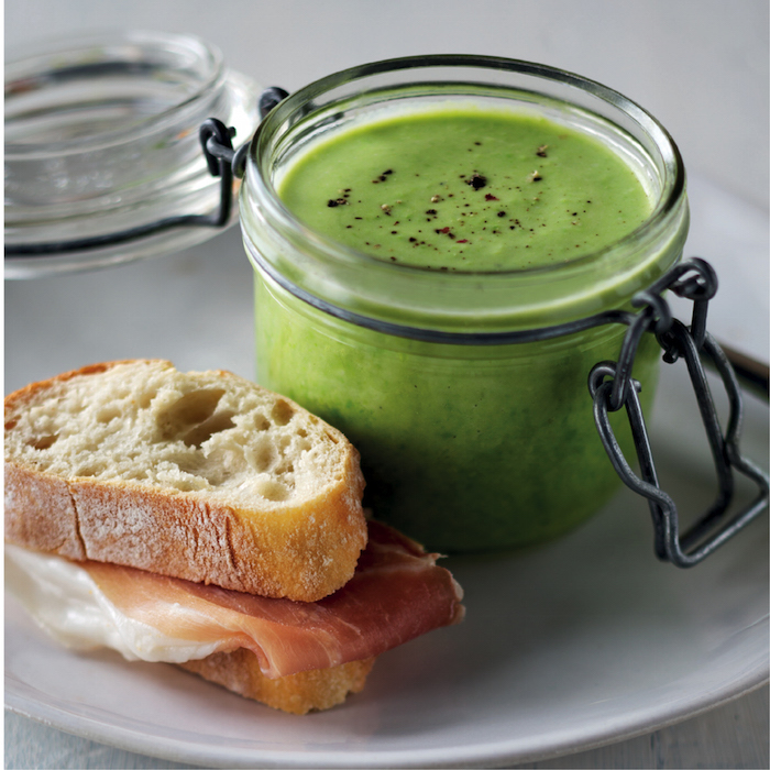 Pea soup and Parma ham sandwiches