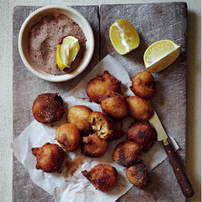 Pear beighnets with cinnamon sugar and lemon on mykitchen.co.za