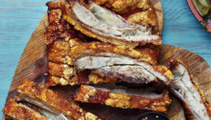 Pork belly with spicy cranberry sauce