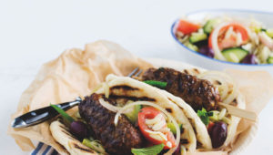 Shish kebabs with greek pasta salad on mykitchen.co.za