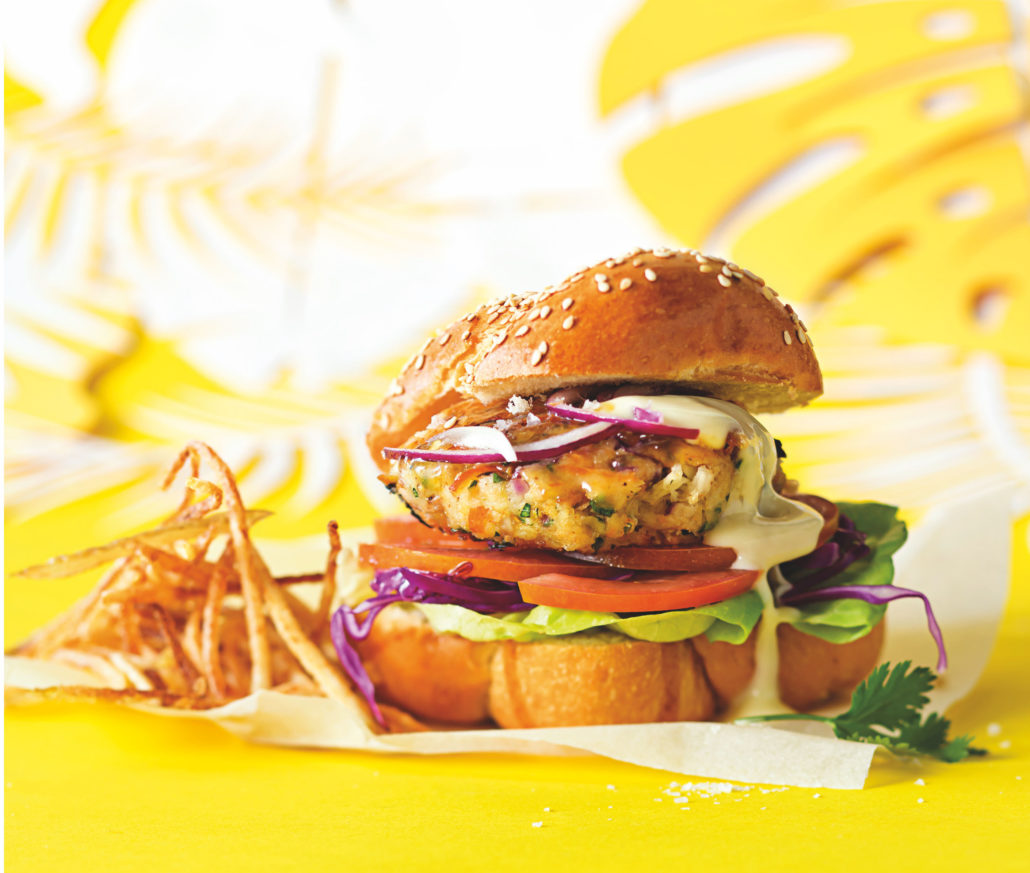 The ultimate apricot-glazed snoek burger