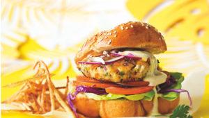 The ultimate apricot-glazed snoek burger