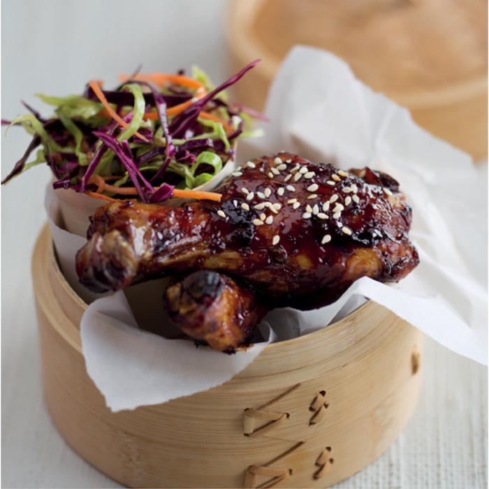 Sticky chicken with slaw