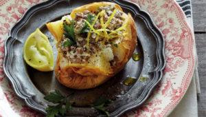 Baked potatoes stuffed with yoghurt lentils
