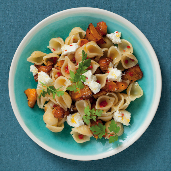 Butternut and goats milk cheese pasta