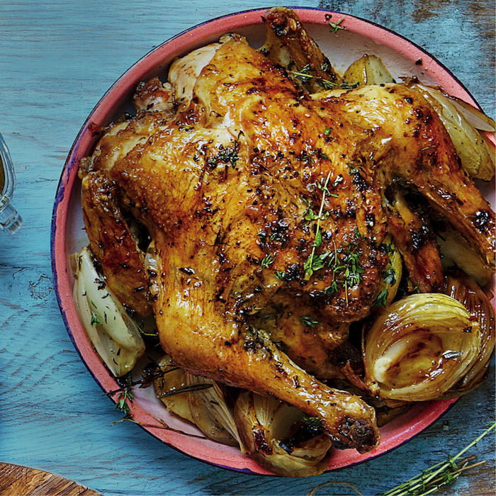 Lemony roast chicken with gravy