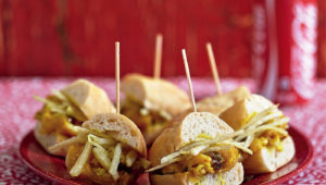 Pickled fish Gatsbys with matchstick chips