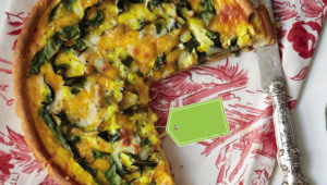 Morogo and sweetcorn quiche