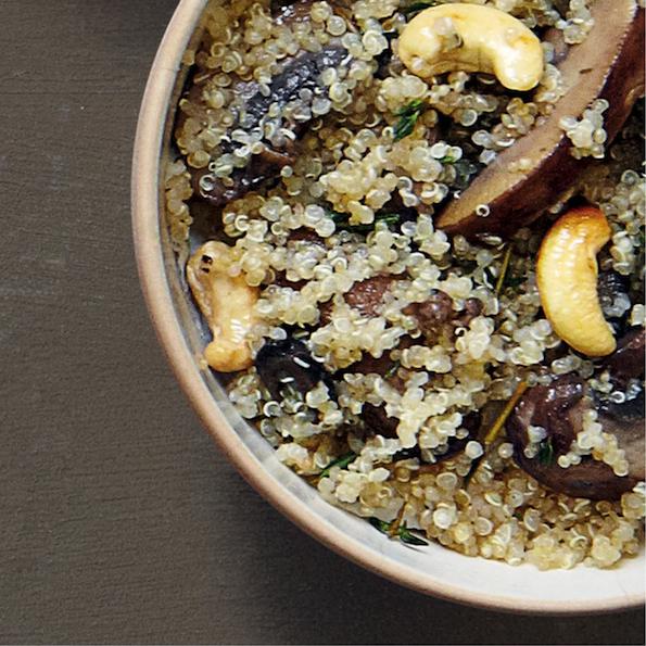 Mushroom and cashew quinoa