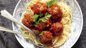 Pasta with boerie meatballs