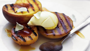 peaches and apricots with mascarpone and honey