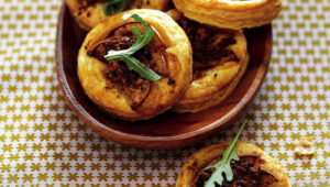 biltong and pear tartlets