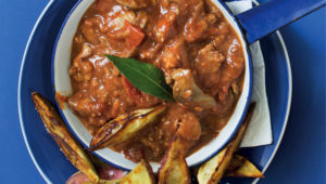 Peri peri chicken livers with sweet potato wedges