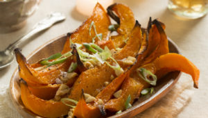 Roast butternut with satay sauce
