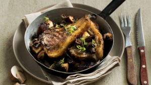 Roast lamb chops with mushrooms