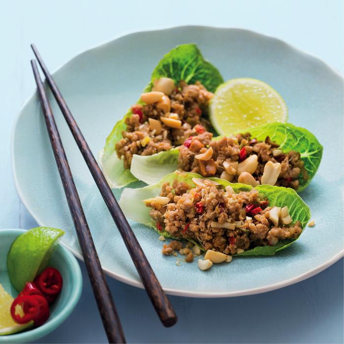Spicy pork lettuce wraps
