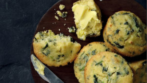 Spinach and feta maize meal muffins