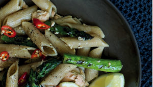 Asparagus and salmon with wholewheat penne