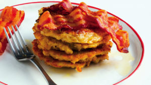 Barley buttermilk pancake stacks with bacon