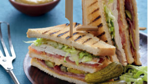 Cheat's hummus and bacon club sandwiches