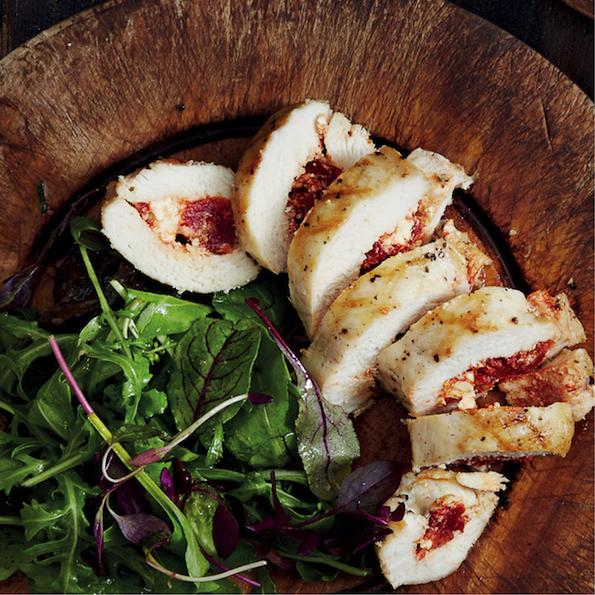 Feta stuffed chicken breast with rocket salad