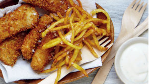Fishfingers with matchstick chips