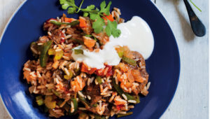 Mexican beef and rice with green salsa