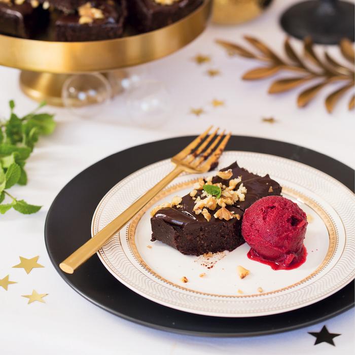 Andrea's no-bake vegan brownies with cherry sorbet
