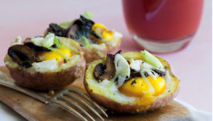 Twice baked egg and mushroom potatoes