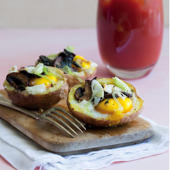 Twice baked egg and mushroom potatoes