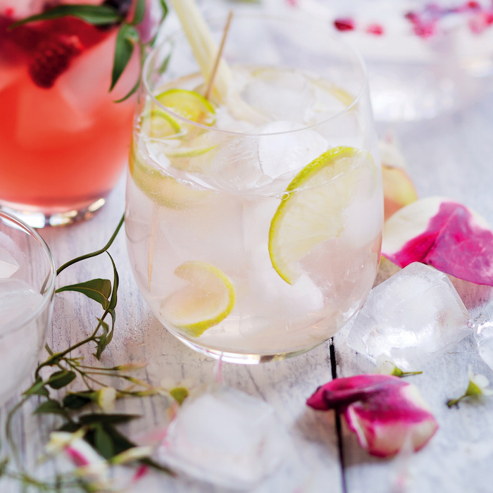 gin, rose and lime cocktail