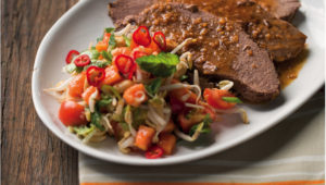 Springbok leg with thai papaya salad