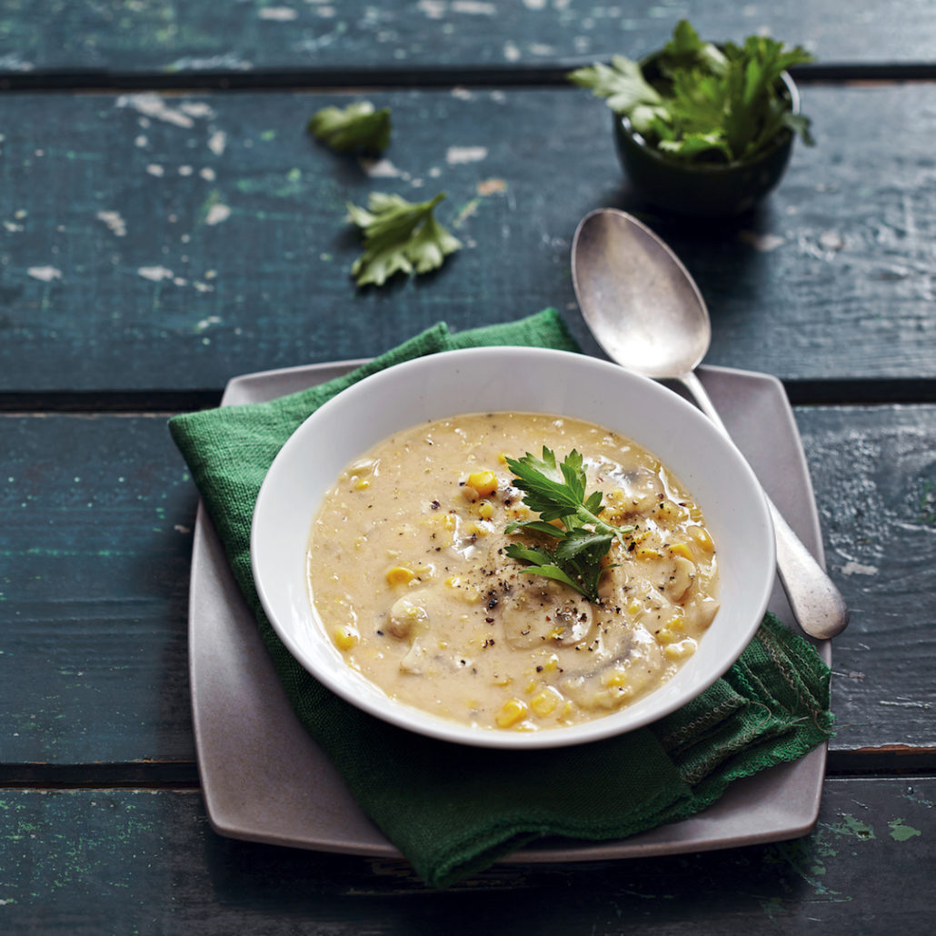 Corn and mushroom chowder